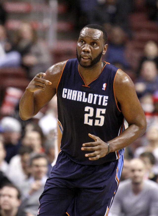 Charlotte Bobcats' Al Jefferson (25) celebrates after he scored against the Philadelphia 76ers in the first half of an NBA basketball game, Wednesday, Jan. 15, 2014 in Philadelphia. (AP Photo/H. Rumph Jr.)