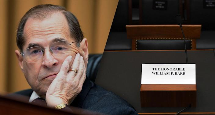House Judiciary Committee Chairman Jerry Nadler, D-N.Y., looks on as Attorney General William Barr fails to attend a hearing before the committee on Capitol Hill in Washington, D.C., on Thursday. (Photos: Jim Watson/AFP/Getty Images)
