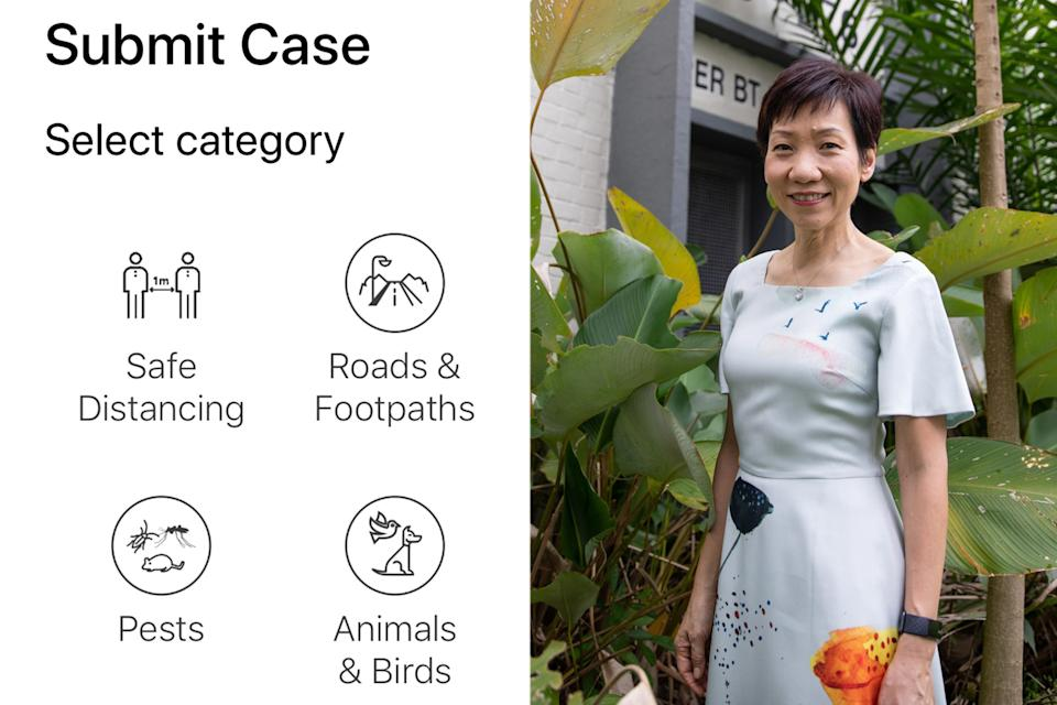 A screengrab (left) of the new safe-distancing infringement reporting feature on the OneService app, which was talked about by Minister for Culture, Community and Youth Grace Fu (right) in her Facebook post. (PHOTO: Facebook / Grace Fu)