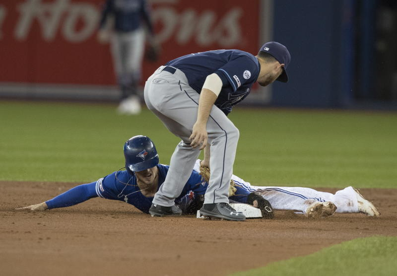 Toronto Blue Jays' Cavan Biggio, bottom, is safe stealing second base under the tag attempt by Tampa Bay Rays shortstop Willy Adames in the first inning of a baseball game in Toronto on Friday, Sept. 27, 2019. (Fred Thornhill/The Canadian Press via AP)