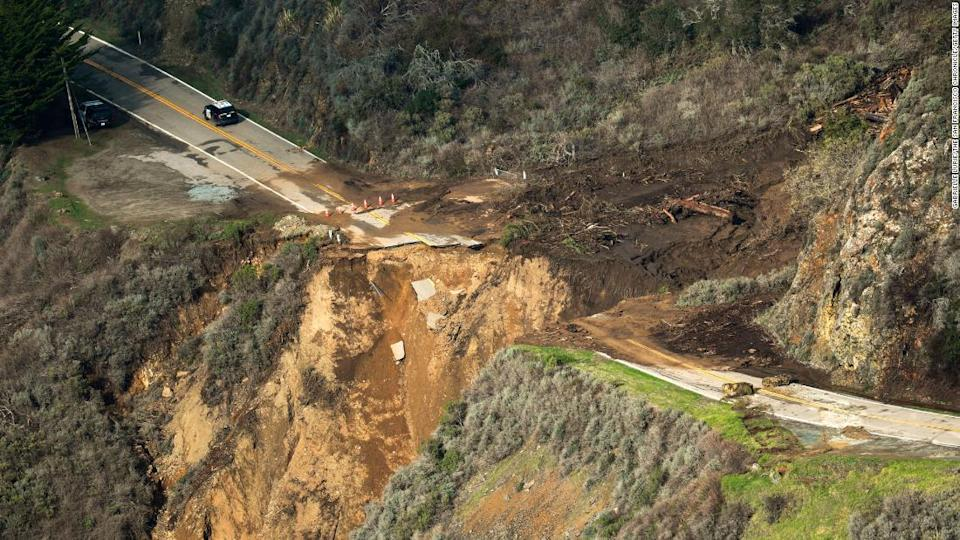 "<p>The view of Highway 1 on Friday, after a chunk of the roadway collapsed into the Pacific Ocean.</p> <div class=""cnn--image__credit""><em><small>Credit: Gabrielle Lurie/The San Francisco Chronicle/Getty Images / Getty Images</small></em></div>"