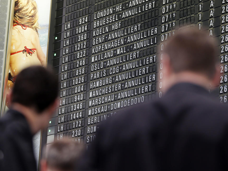 Canceled flights are displayed on a board as the flight attendants of German Lufthansa airline went on a seven hour strike at the airport of Frankfurt, Germany, on Friday morning, Aug. 31, 2012 causing at least 60 canceled flights. More and longer lasting strikes are announced for the next days and weeks.(AP Photo/Michael Probst)
