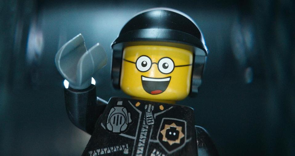 """This image released by Warner Bros. Pictures shows the character Bad Cop/Good Cop, voiced by Liam Neeson, in a scene from """"The Lego Movie."""" """"The Lego Movie"""" is expected to take the top spot at the box office in its second weekend. (AP Photo/Warner Bros. Pictures, file)"""