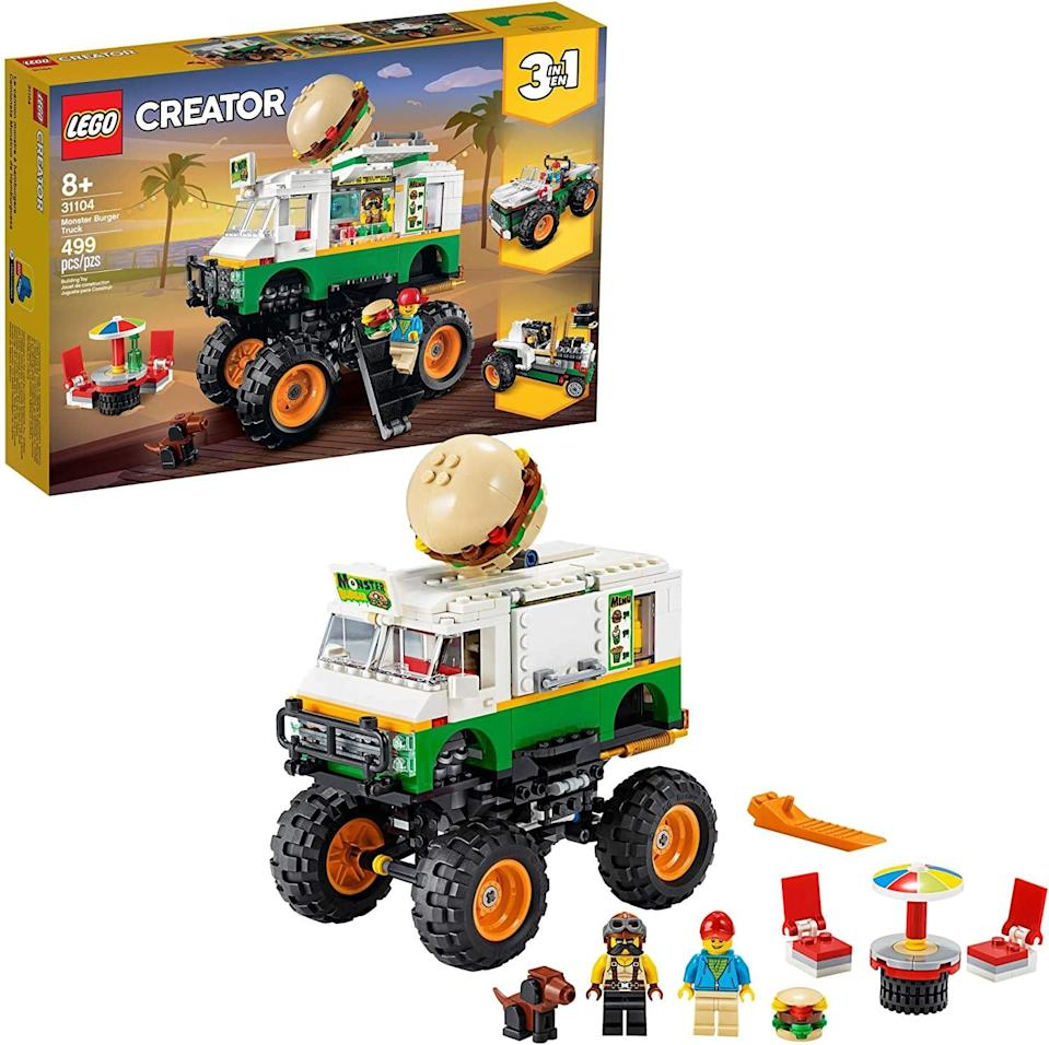 "<p>The <a href=""https://www.popsugar.com/buy/Lego-Creator-Monster-Burger-Truck-551159?p_name=Lego%20Creator%20Monster%20Burger%20Truck&retailer=amazon.com&pid=551159&price=50&evar1=moms%3Aus&evar9=47243673&evar98=https%3A%2F%2Fwww.popsugar.com%2Fphoto-gallery%2F47243673%2Fimage%2F47243783%2FLego-Creator-Monster-Burger-Truck&list1=toys%2Ctoy%20fair%2Ckid%20shopping%2Ckids%20toys&prop13=api&pdata=1"" class=""link rapid-noclick-resp"" rel=""nofollow noopener"" target=""_blank"" data-ylk=""slk:Lego Creator Monster Burger Truck"">Lego Creator Monster Burger Truck</a> ($50) has 499 pieces and is best suited for kids ages 8 and up.</p>"