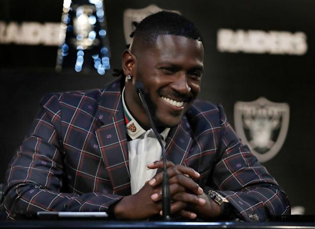 Oakland Raiders wide receiver Antonio Brown smiles during an NFL football news conference, Wednesday, March 13, 2019, in Alameda, Calif. (AP Photo/Ben Margot)