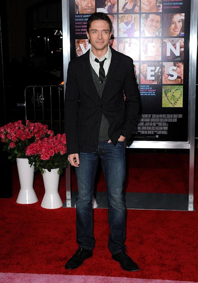 """<a href=""""http://movies.yahoo.com/movie/contributor/1804147074"""">Topher Grace</a> at the Los Angeles premiere of <a href=""""http://movies.yahoo.com/movie/1810094501/info"""">Valentine's Day</a> - 02/08/2010"""