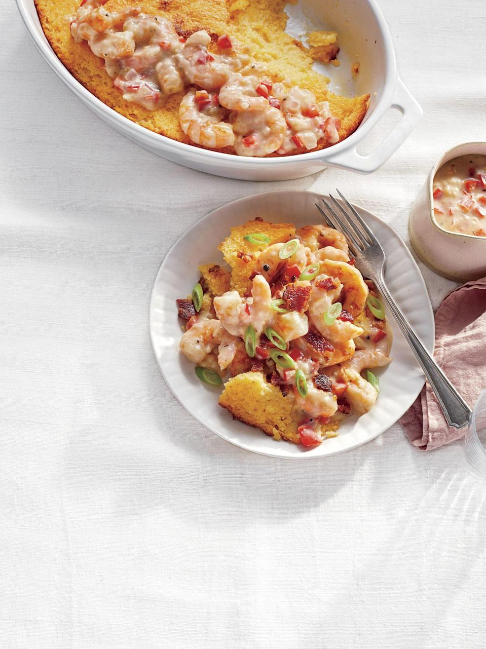 """<p><strong>Recipe: <a href=""""https://www.southernliving.com/recipes/shrimp-and-grits-casserole"""" rel=""""nofollow noopener"""" target=""""_blank"""" data-ylk=""""slk:Shrimp and Grits Casserole"""" class=""""link rapid-noclick-resp"""">Shrimp and Grits Casserole</a></strong></p> <p>Treat Mama to the special meal she deserves this Mother's Day by putting this casserole version of classic shrimp and grits on the menu. </p>"""