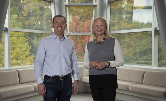 IBM CEO Ginni Rometty on the perquisite and Red Hat CEO Jim Whitehurst on the left.