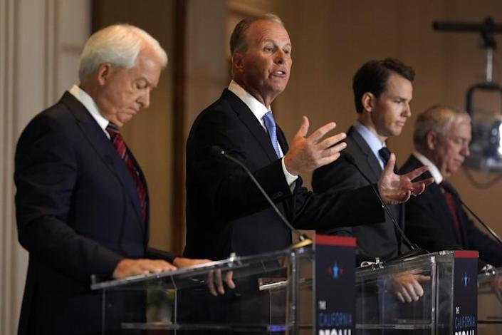 From left, Republican candidates for California Governor John Cox, Kevin Faulconer, Kevin Kiley and Doug Ose participate in a debate at the Richard Nixon Presidential Library Wednesday, Aug. 4, 2021, in Yorba Linda, Calif. California Gov. Gavin Newsom faces a Sept. 14 recall election that could remove him from office. (AP Photo/Marcio Jose Sanchez)