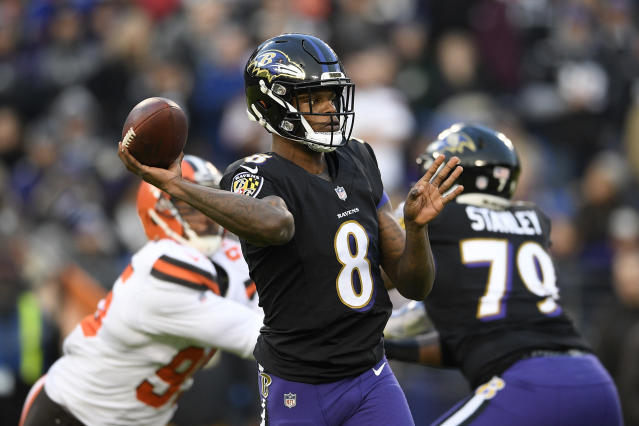 Baltimore Ravens quarterback Lamar Jackson throws a pass in the first half of an NFL football gameagainst the Cleveland Browns, Sunday, Dec. 30, 2018, in Baltimore. (AP Photo/Nick Wass)