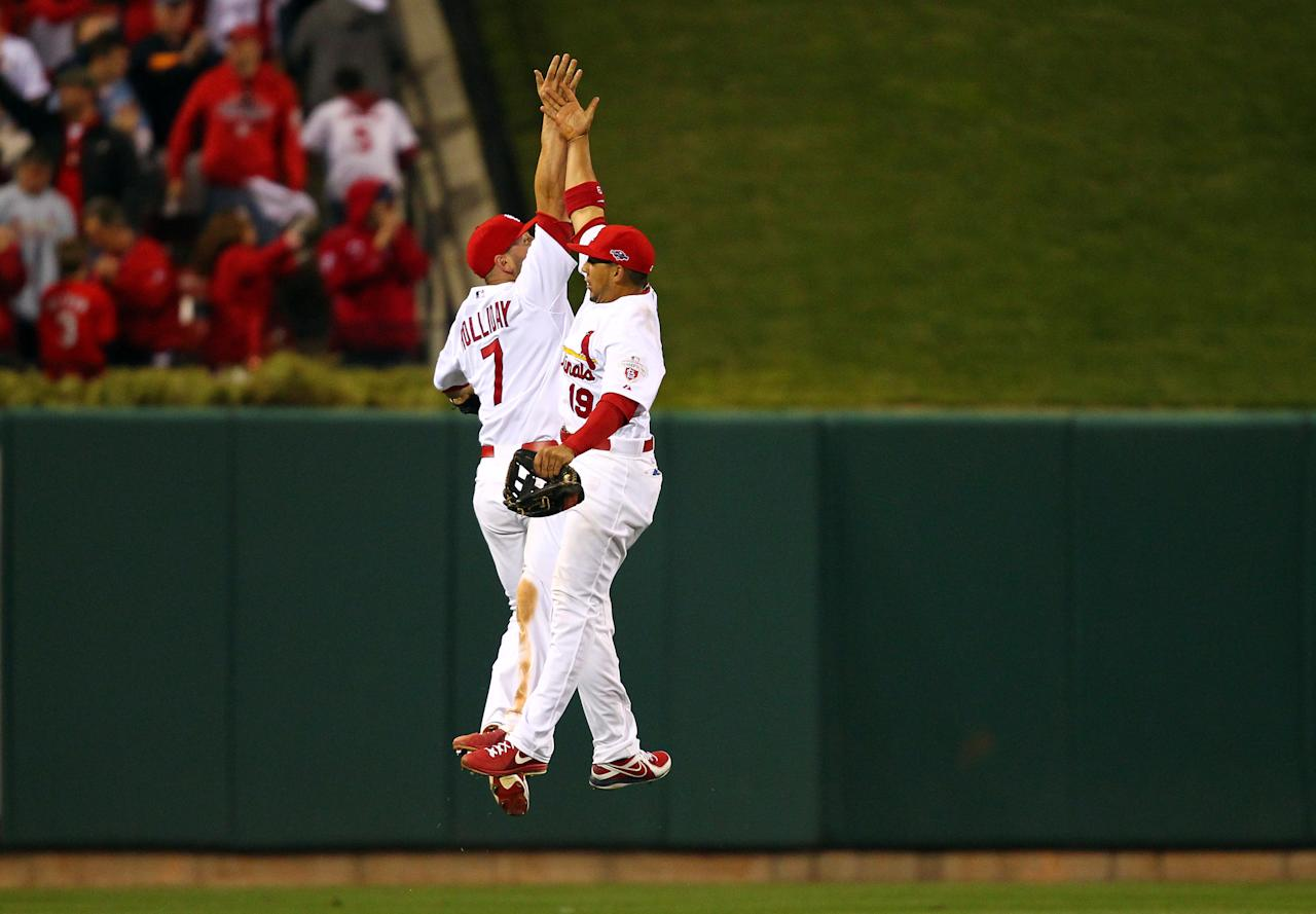 ST LOUIS, MO - OCTOBER 08:  Matt Holliday #7 and Jon Jay #19 of the St. Louis Cardinals celebrate after the Cardinals 12-4 victory against the Washington Nationals during Game Two of the National League Division Series at Busch Stadium on October 8, 2012 in St Louis, Missouri.  (Photo by Dilip Vishwanat/Getty Images)