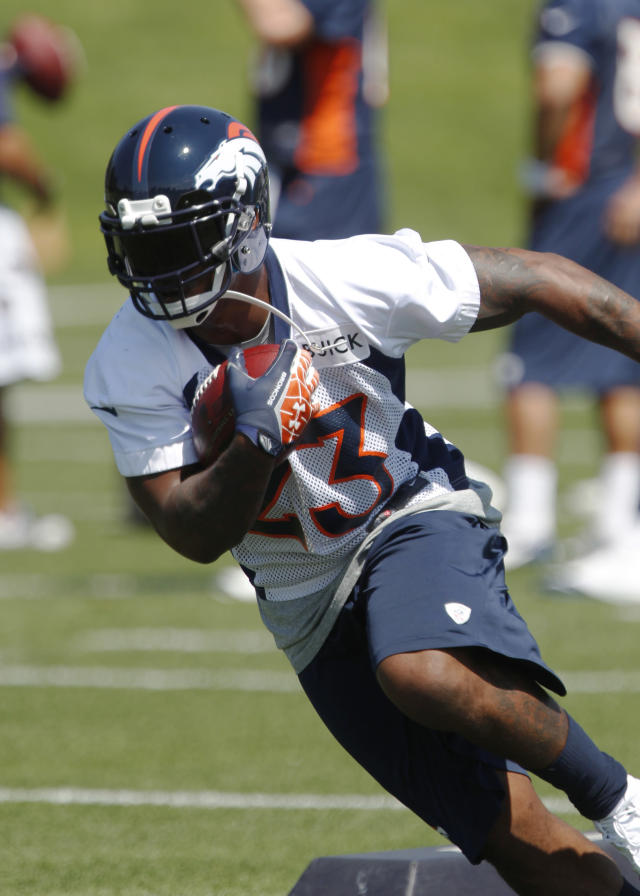 Denver Broncos running back Willis McGahee runs during the team's minicamp session at the Broncos' headquarters in Englewood, Colo., on Tuesday, June 11, 2013. (AP Photo/David Zalubowski)