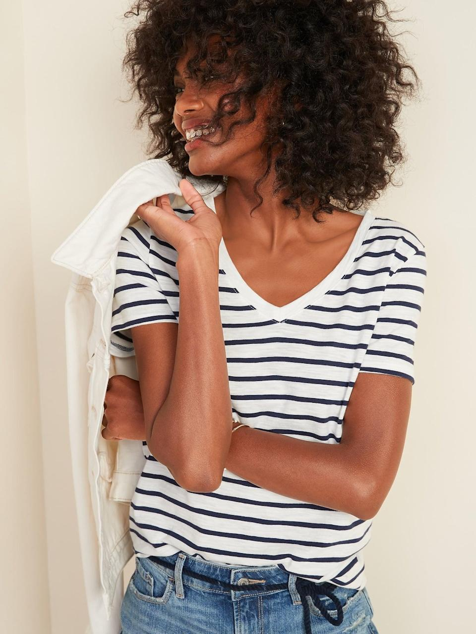 <p>You can't go wrong with this simple and classic <span>Old Navy EveryWear Striped Slub-Knit V-Neck Tee</span> ($9).</p>