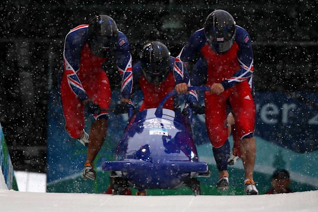 <p>Inspired by the film <em>Cool Runnings, </em>Condon abandoned track and field for bobsled and returned to represent Team GB at the 2010 Winter Olympics in Vancouver. (Getty) </p>