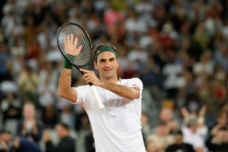 Roger Federer pictured after beating Rafael Nadal during an exhibition match in Cape Town on February 7