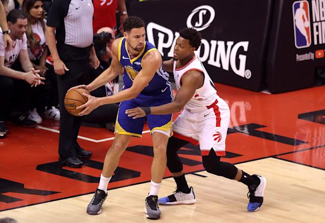 Klay Thompson #11 of the Golden State Warriors is defended by Kyle Lowry #7 of the Toronto Raptors in the first half during Game Five of the 2019 NBA Finals at Scotiabank Arena on June 10, 2019 in Toronto, Canada. (Photo by Claus Andersen/Getty Images)