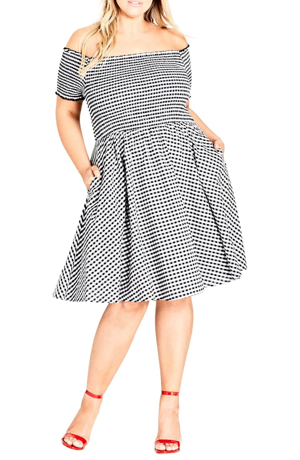 City Chic Gingham Off the Shoulder Fit & Flare Dress. (Photo: Nordstrom)