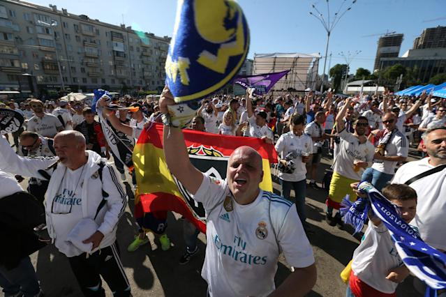 Soccer Football - Champions League Final - Real Madrid v Liverpool - Kiev, Ukraine - May 26, 2018 Real Madrid fans in Kiev before the match REUTERS/Viacheslav Ratynskyi