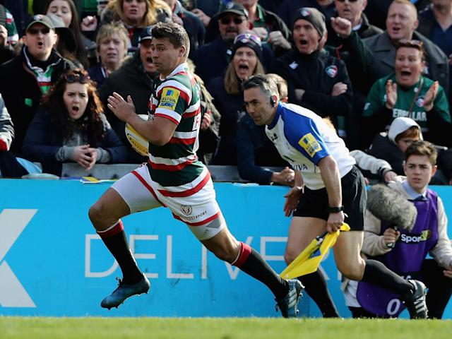 Ben Youngs breaks to score for Leicester: Getty