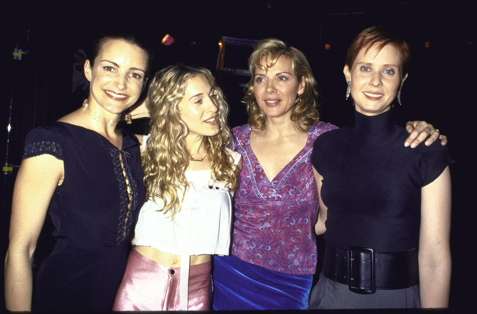 Kristin Davis, Sarah Jessica Parker, Kim Cattrall and Cynthia Nixon during break from filming of their television series Sex and the City.  (Photo by Dave Allocca/DMI/The LIFE Picture Collection via Getty Images)