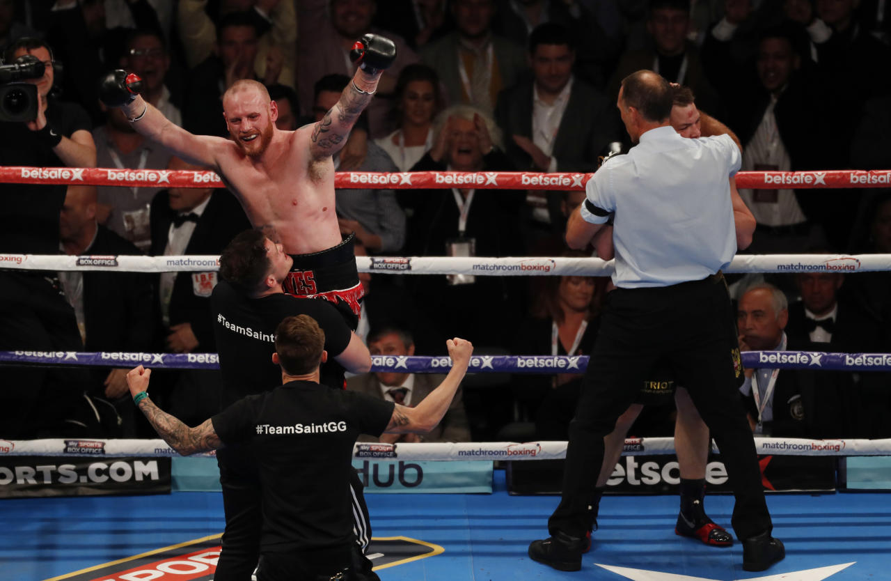 Britain Boxing - George Groves v Fedor Chudinov WBA World Super-Middleweight Title - Bramall Lane, Sheffield - 27/5/17 George Groves celebrates after victory over Fedor Chudinov to become world champion Action Images via Reuters / Carl Recine Livepic