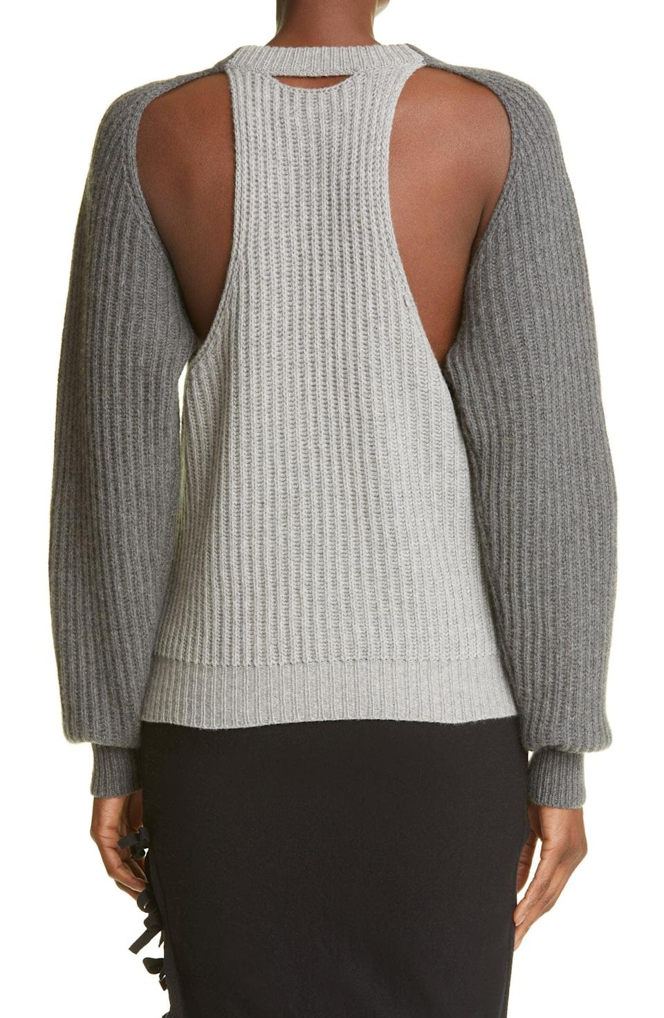 <p>This <span>Sansovino 6 Colorblock Racerback Cashmere Sweater</span> ($964) looks like a classic cashmere sweater from the front, but the back tells a different story.</p>