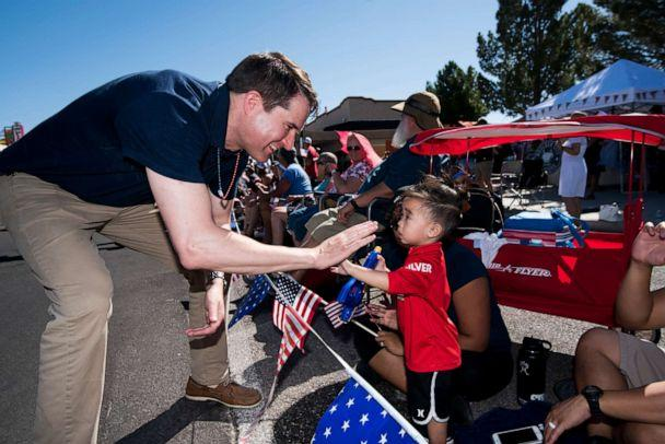 PHOTO: Presidential candidate Rep. Seth Moulton gives a high five to a spectator during the Boulder City Damboree Celebration 4th of July parade in Boulder City, Nev., on July 4, 2019. (Bill Clark/CQ-Roll Call via Getty Images, FILE)