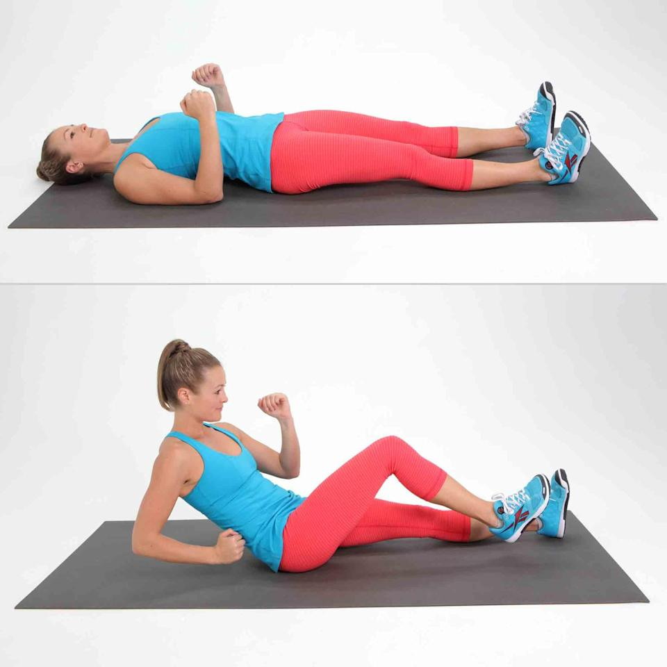 <ul> <li>Start on your back with your elbows resting on the floor at a 90-degree angle.</li> <li>With your core engaged, roll up to almost sitting while bringing your right knee up to meet your left elbow. It should feel a little like running.</li> <li>With control, straighten your leg as your slowly peel your back down, vertebra by vertebra, until your shoulders touch the mat last. This counts as one rep.</li> <li>Complete 10 reps.</li> </ul>