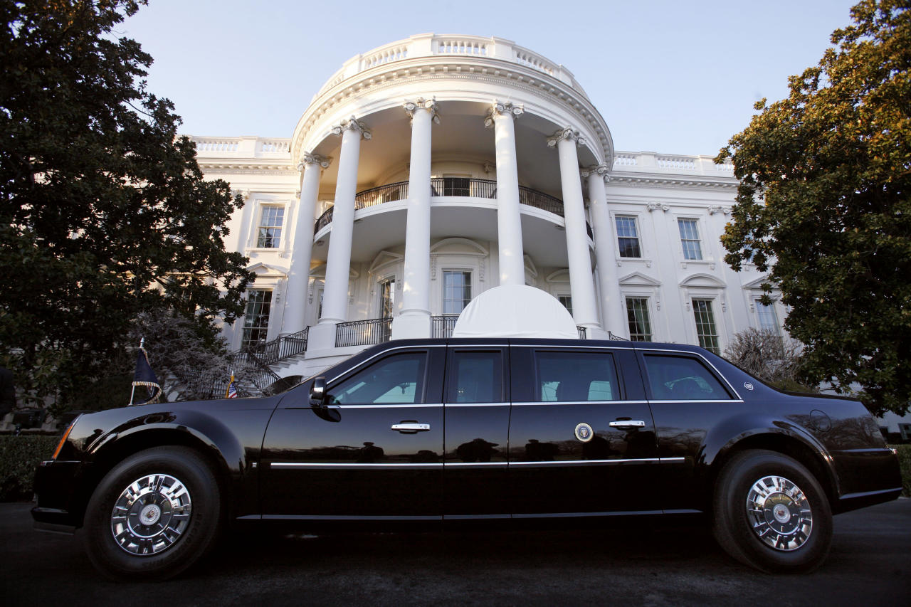 """U.S. President Barack Obama's limousine, referred to as """"The Beast"""", is parked in front of the South Portico after Obama   returned to the White House in Washington, March 6, 2009. REUTERS/Jim Young (UNITED STATES)"""