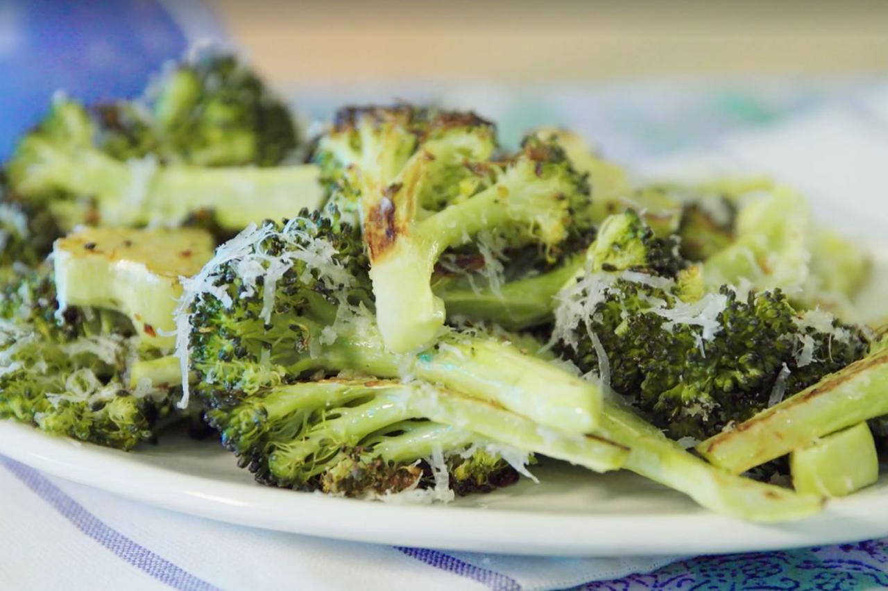 """<p>Once out of the oven, finish off the roasted broccoli with a light hand of freshly grated Parmesan cheese. If you're not a fan of Parmesan, you can drizzle lemon juice, soy sauce, or hummus over broccoli for added flavor. </p><p><strong>More Recipes to Try:</strong></p><p>• <a rel=""""nofollow"""" href=""""https://www.goodhousekeeping.com/food-recipes/easy/a47686/sausage-and-broccoli-quinoa-bowl-recipe/"""">Sausage and Broccoli Quinoa Bowl</a><br></p><p>• <a rel=""""nofollow"""" href=""""https://www.goodhousekeeping.com/food-recipes/a12151/roasted-salmon-crispy-potatoes-broccoli-recipe-wdy0115/"""">Roasted Salmon with Crispy Potatoes and Broccoli</a></p><p></p><p>• <a rel=""""nofollow"""" href=""""https://www.goodhousekeeping.com/food-recipes/a14084/broccoli-cheddar-cheese-soup-recipe-123136/"""">Broccoli and Cheddar Cheese Soup</a></p><p><em>Good news! You can now watch our Test Kitchen Secrets how-to videos on <a rel=""""nofollow"""" href=""""https://www.amazon.com/dp/B076CTBBR6?"""">Amazon Video</a>  -  and they're included with your Prime membership! If you're not a Prime member, click <a rel=""""nofollow"""" href=""""https://www.amazon.com/dp/B00DBYBNEE?tag=hdm_avd-20&ascsubtag=[artid 10055.a.46821[src socialflowTW[ch """">here</a> to sign up.</em><br></p>"""