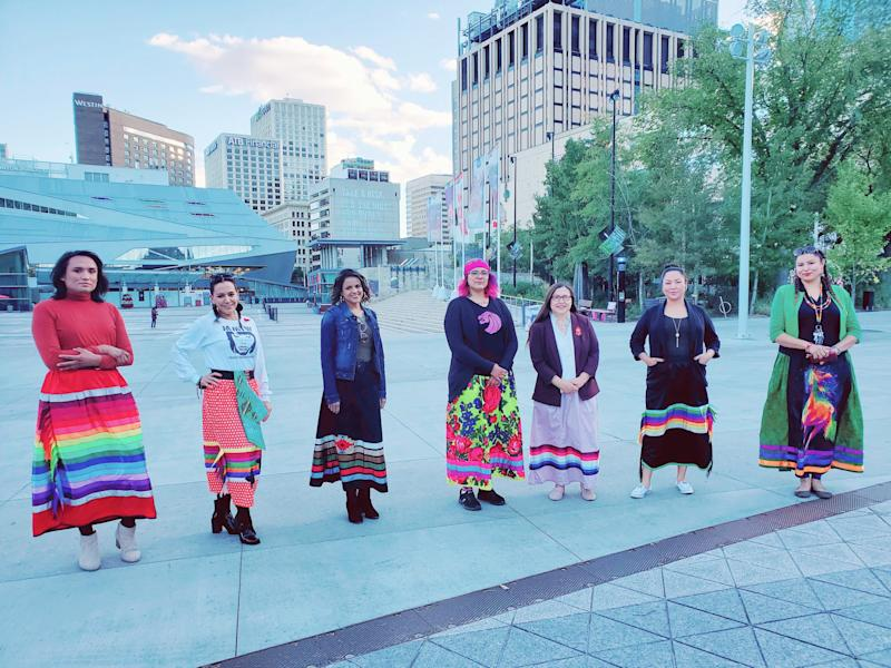 """Chevi Rabbit, Charlene Roan-Shirt, Ashleigh Mihko Pîwâyesis, April Eve Medicinespiritdancer, Katherine Swampy, Jacqueline Buffalo, Rhea Fraser, and Marilyn Tobbaccojuice are all lending their support to """"Walk A Mile In A Ribbon Skirt."""" (Photo: Courtesy of Katherine Swampy)"""