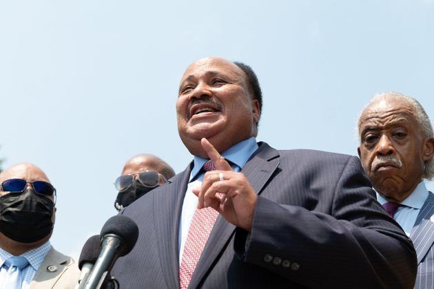 Martin Luther King III joined Texas Democrats at the memorial honoring his father to urge Democrats to pass the For the People Act. King's home state of Georgia earlier this year passed a law placing new restrictions on voting that will disproportionately affect Black voters. (Photo: Cheriss May via Getty Images)