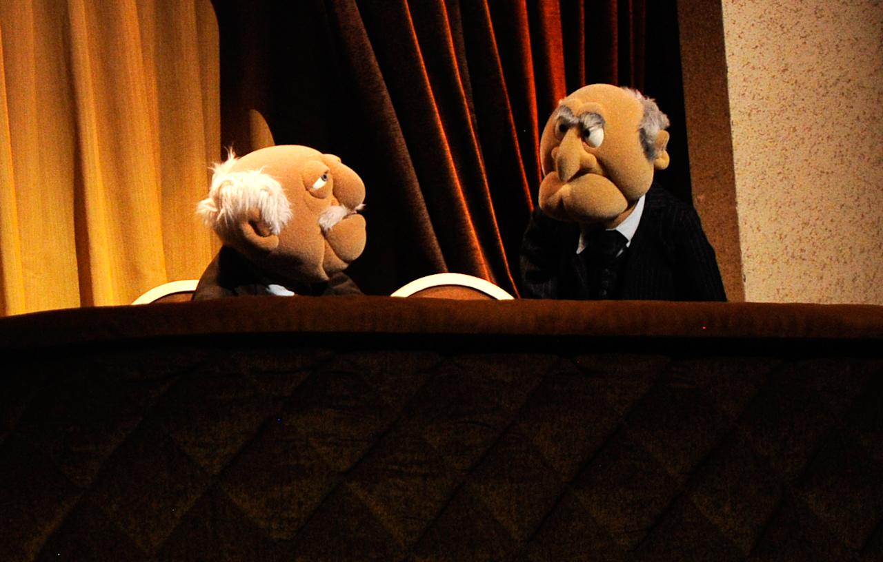 NEW YORK, NY - MARCH 04:  (EXCLUSIVE COVERAGE) Statler and Waldorf speak on stage during Amnesty International's Secret Policeman's Ball at Radio City Music Hall on March 4, 2012 in New York City.  (Photo by Kevin Mazur/Getty Images for Amnesty International)