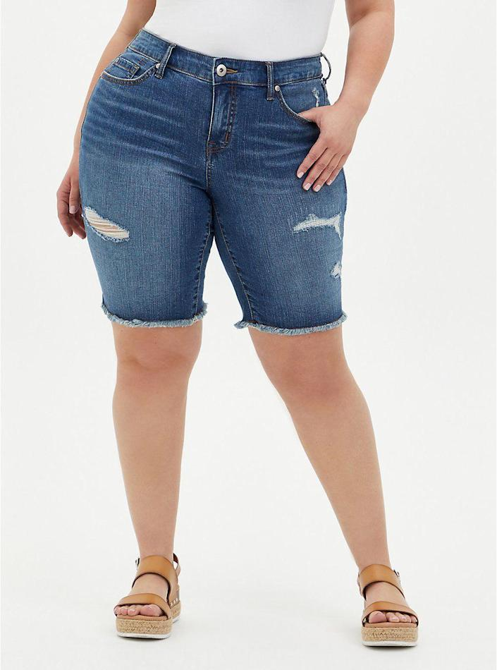 """<p>torrid.com</p><p><strong>$41.62</strong></p><p><a href=""""https://go.redirectingat.com?id=74968X1596630&url=https%3A%2F%2Fwww.torrid.com%2Fproduct%2Fmid-rise-bermuda-short---vintage-stretch-medium-wash%2F14589589.html&sref=https%3A%2F%2Fwww.thepioneerwoman.com%2Ffashion-style%2Fg37083925%2Fbest-plus-size-shorts%2F"""" rel=""""nofollow noopener"""" target=""""_blank"""" data-ylk=""""slk:Shop Now"""" class=""""link rapid-noclick-resp"""">Shop Now</a></p><p>These stretch Bermuda shorts would look so cute with a tee from <a href=""""https://www.thepioneerwoman.com/products/a37023033/the-pioneer-woman-summer-clothing-collection/"""" rel=""""nofollow noopener"""" target=""""_blank"""" data-ylk=""""slk:Ree's clothing line"""" class=""""link rapid-noclick-resp"""">Ree's clothing line</a> and summery espadrilles! Just keep in mind that the brand recommends going up a size for this pair—they run a bit small.</p>"""