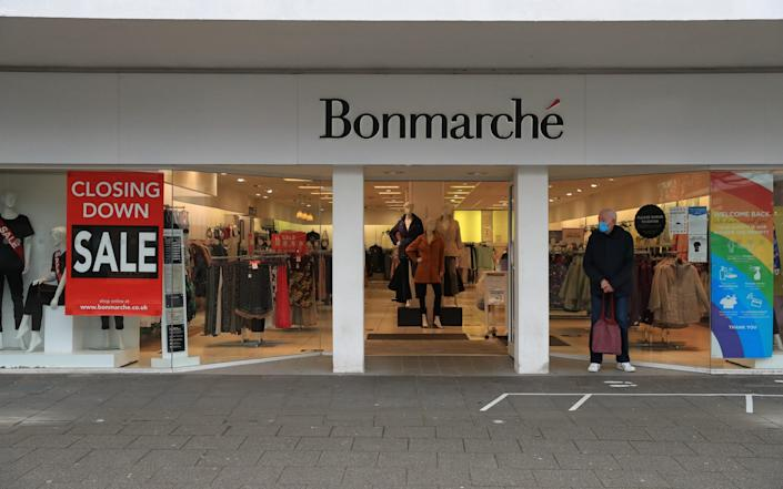Bonmarche in Farnborough, advertising its closing down sale, on the day non-essential shops in England open their doors to customers for the first time after the second national lockdown end - Adam Davy/PA