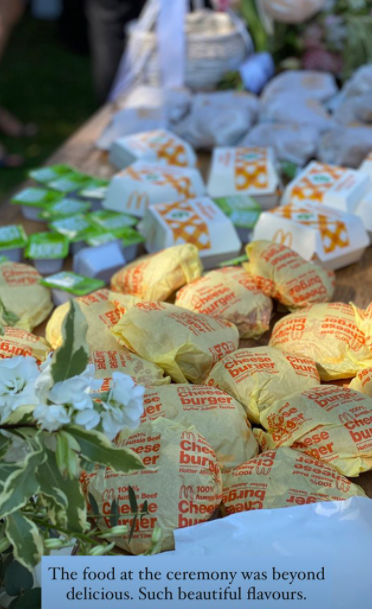 wedding guests dined on burgers from McDonalds. Photo: Instagram/Tara Pavlovic.