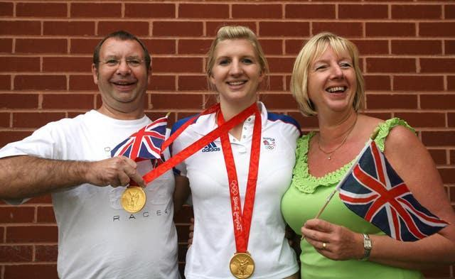 Rebecca Adlington with her dad Steve and mum Kay