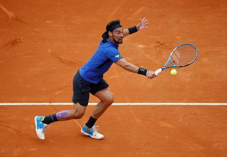 Tennis - ATP 1000 - Monte Carlo Masters - Monte-Carlo Country Club, Roquebrune-Cap-Martin, France - April 21, 2019 Italy's Fabio Fognini in action during the final against Serbia's Dusan Lajovic REUTERS/Jean-Paul Pelissier