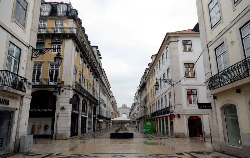 FILE PHOTO: Augusta street is pictured during partial lockdown as part of state of emergency to combat the coronavirus disease (COVID-19) outbreak in Lisbon