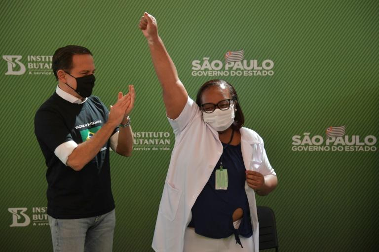 Monica Calazans, a 54-year-old nurse in Sao Paulo became the first person in Brazil to receive the Chinese CoronaVac jab after two vaccines were approved