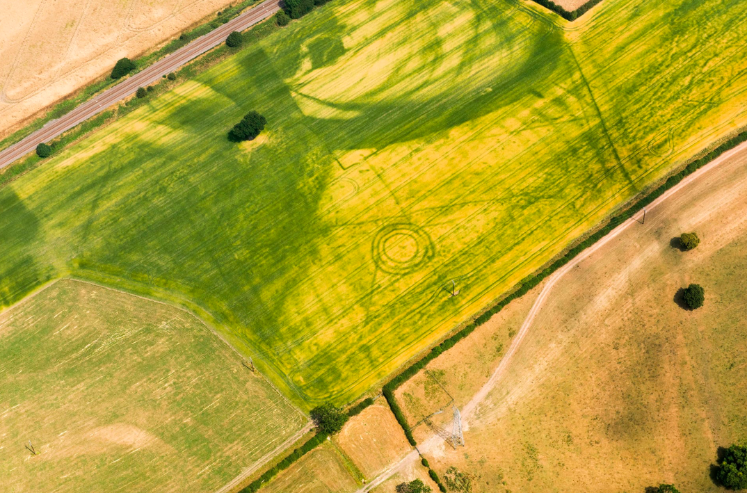 <p>This triple-ditched bronze age burial mound and prehistoric pit alignment was unearthed in Scropton, Derbyshire (Historic England) </p>