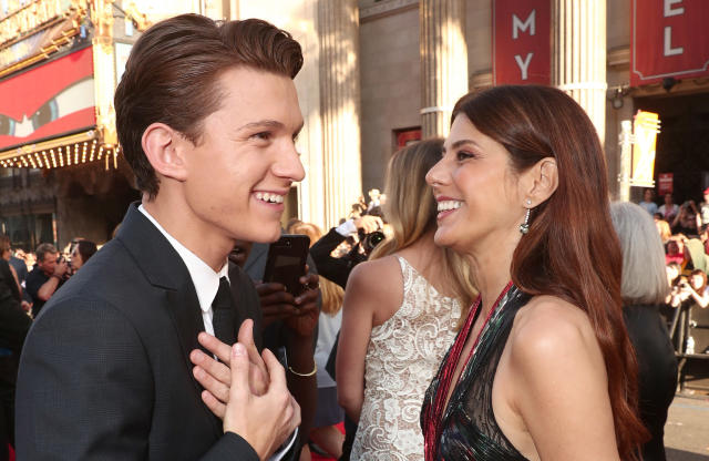 "Tom Holland and Marisa Tomei attend the premiere of ""Spider-Man: Homecoming"" on June 28, 2017. (Photo by Todd Williamson/Getty Images)"
