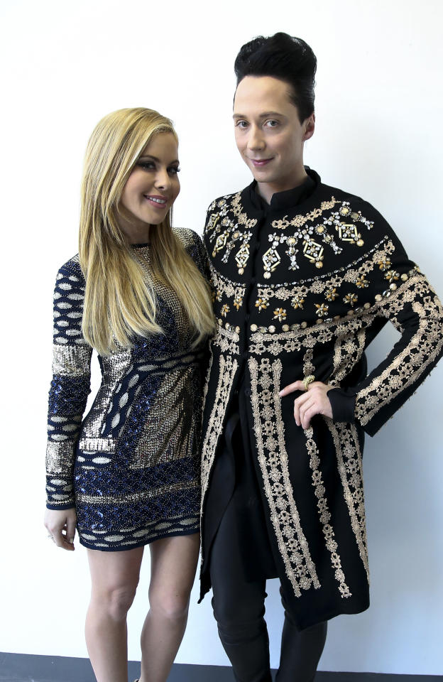 <p>Tara Lipinski and Johnny Weir pose following the Figure Skating Men Free Program on day eight of the PyeongChang 2018 Winter Olympic Games at Gangneung Ice Arena on February 17, 2018 in Gangneung, Pyeongchang, South Korea. (Photo by Jean Catuffe/Getty Images) </p>