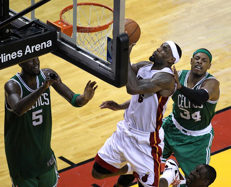 MIAMI, FL - JUNE 9: Miami Heat small forward LeBron James (#6) takes it to the rim late in the fourth quarter. Boston Celtics NBA basketball, action and reaction. The Celtics play the Miami Heat in Game seven of the Eastern Conference Finals at American Airlines Arena in Miami. (Photo by Barry Chin/The Boston Globe via Getty Images)