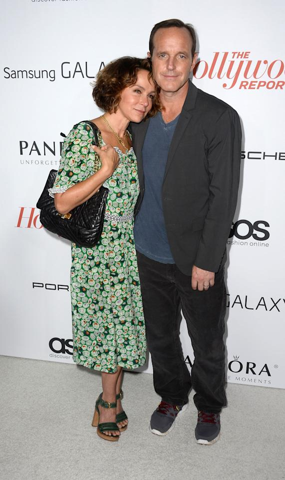 WEST HOLLYWOOD, CA - SEPTEMBER 19: Actors Jennifer Grey and Clark Gregg arriveat The Hollywood Reporter's Emmy Party at Soho House on September 19, 2013 in West Hollywood, California. (Photo by Frazer Harrison/Getty Images)