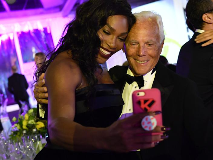 "Serena Williams and Armani at the Milano Gala Dinner in September 2016 in Milan, Italy. <p class=""copyright"">Getty Images</p>"