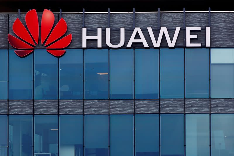 FILE PHOTO: Huawei logo at Huawei Technologies France in Boulogne-Billancourt