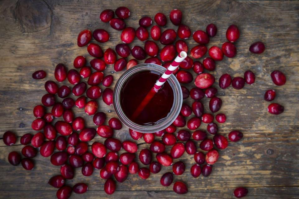 """<p>Nope. Cranberry juice and UTIs have been lumped together since forever, but the <a href=""""https://www.niddk.nih.gov/health-information/urologic-diseases/bladder-infection-uti-in-adults/eating-diet-nutrition"""" rel=""""nofollow noopener"""" target=""""_blank"""" data-ylk=""""slk:National Institutes of Health"""" class=""""link rapid-noclick-resp"""">National Institutes of Health</a> (NIH) says that cranberry products are not effective in treating a UTI if you already have one. While some research suggests that cranberry juice, extract, or pills might help <em>prevent </em>UTIs, there's not enough evidence for this, the NIH says. </p>"""