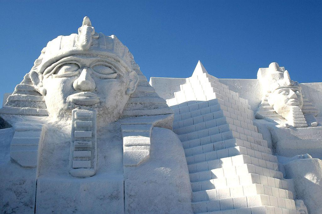 A snow sculpture of the Great Sphinx of Giza is displayed at Odori Park in Sapporo, Japan.