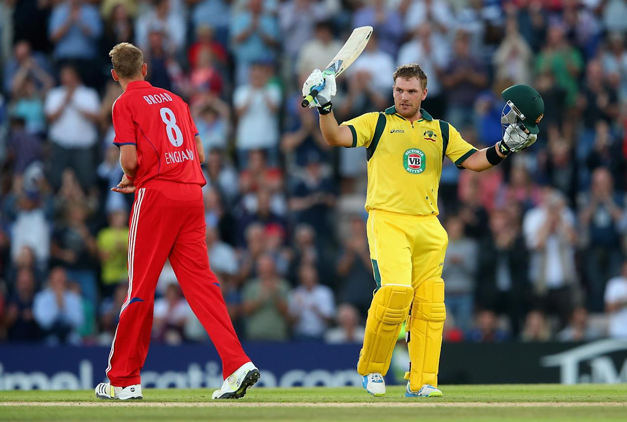 SOUTHAMPTON, ENGLAND - AUGUST 29:  Aaron Finch of Australia celebrates his century during the 1st NatWest Series T20 match between England and Australia at Ageas Bowl on August 29, 2013 in Southampton, England.  (Photo by Julian Finney/Getty Images)
